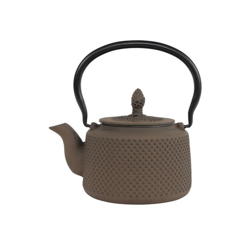 Arare Theepot Gietijzer Taupe 0.85 liter incl. RVS filter