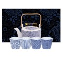 Theeset Nippon Blue Wave Theepot 800ml + 4 kopjes 180ml (5-delig)