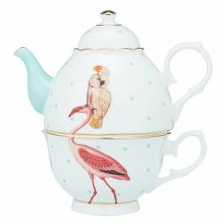 Tea for One 900ml Flamingo & Parrot (giftbox) Yvonne Ellen Tea for One Yvonne Ellen - 1