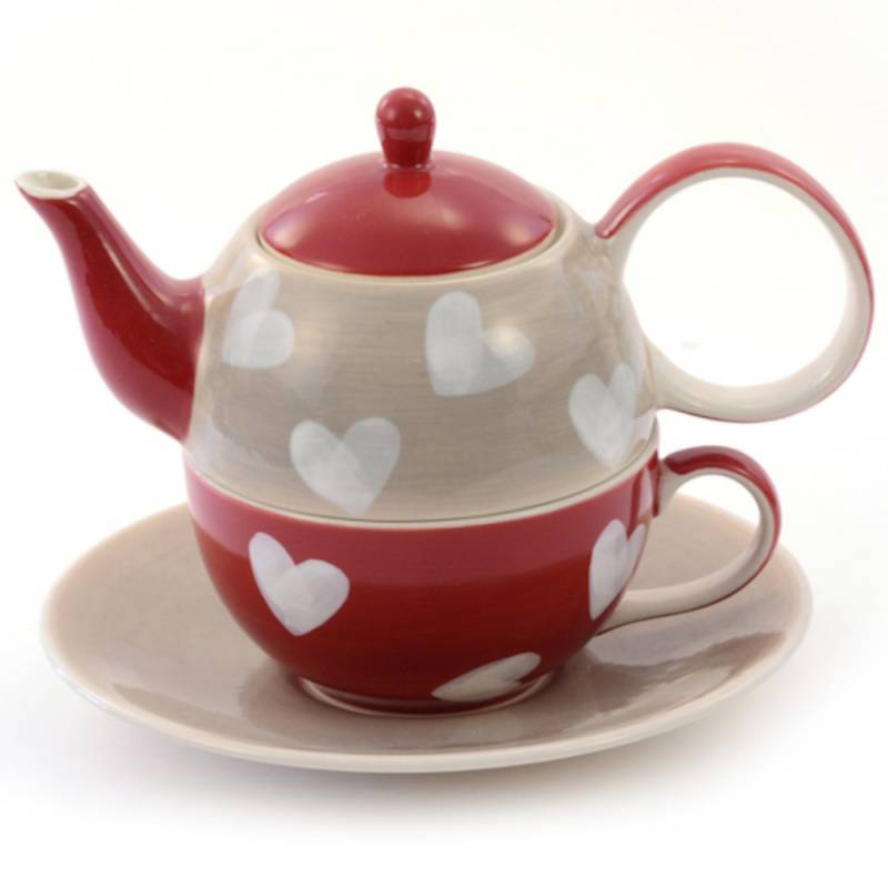 Tea-For-One Hearts theepot 0,4L + kop 0,2L Home Evans & Watson - 1